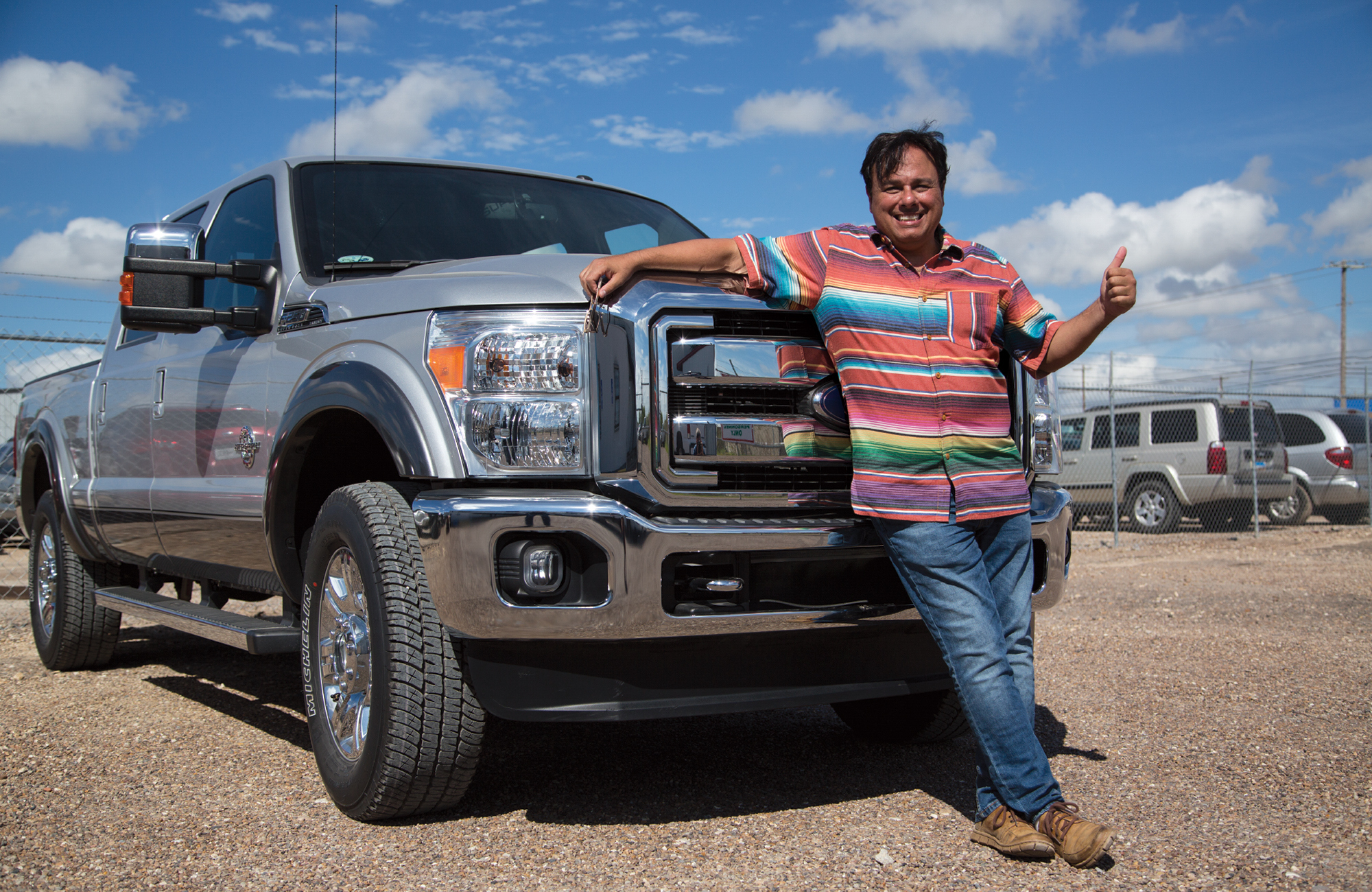 Gerardo Serrano and his formerly seized truck that was given back by Customs and Border protection.