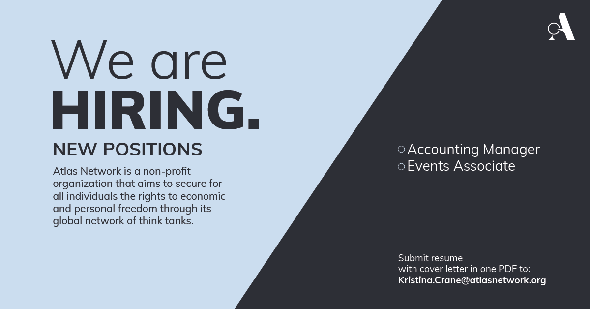 Advertisement for hiring an accounting Manager and an Events Associate at Atlas Network.