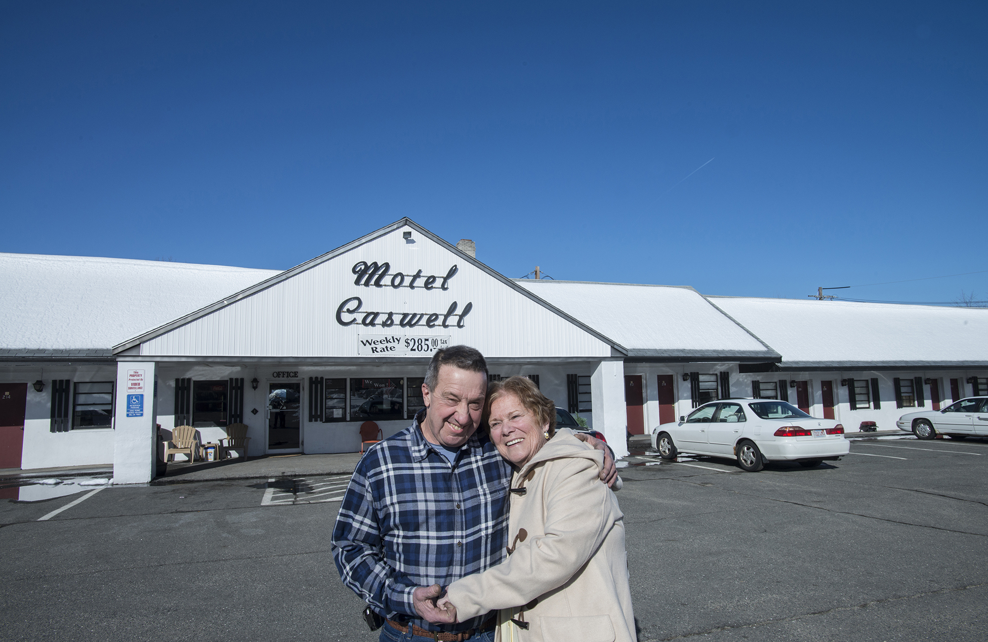 Institute for Justice clients Russ and Patricia Caswell celebrate after a three-year court battle contesting the Federal Government's use of Civil Forfeiture to take their family-owned motel.