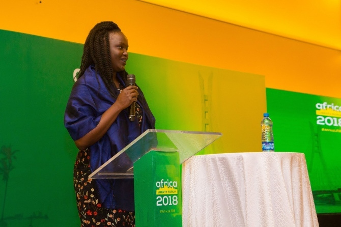 A woman speaks at the at the Africa Liberty Forum 2018.