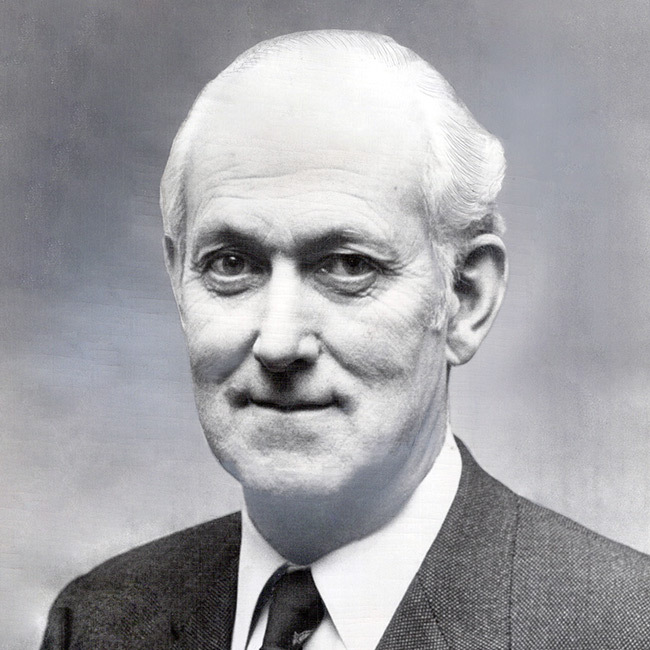 A black and white photo of Antony fisher founder of Atlas Network.