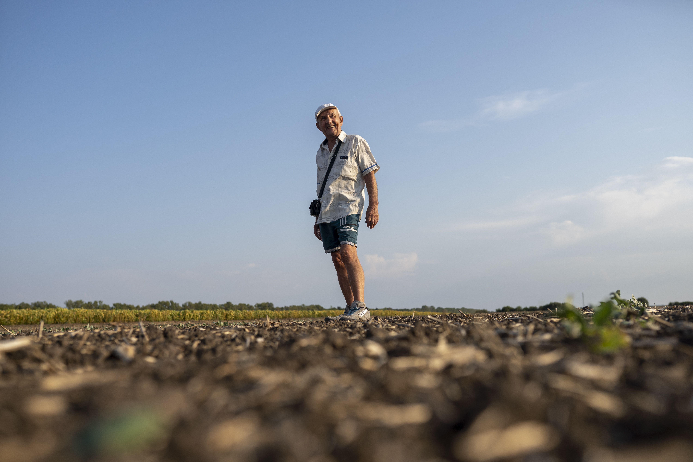 Viktor Tstsyura stands over his 3.5 hectares of farmland about 30 km outside Ternopil, Ukraine (AtlasNetwork.org Photo/Bernat Parera).