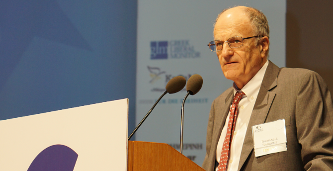 Nobel laureate economist Thomas Sargent giving the keynote speech at the Emergency Economic Summit for Greece.