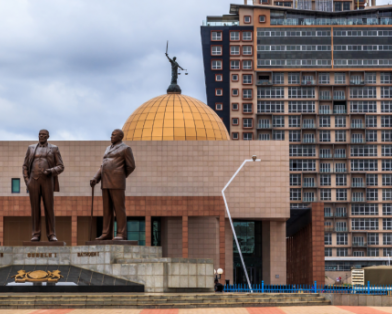 The Three Dikgosi (tribal chiefs) Monument in the central business district of Gaborone, Botswana.