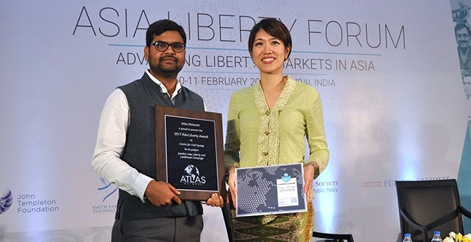Award winners Amit Chandra and Tricia Yeoh at Asia Liberty Forum 2017.
