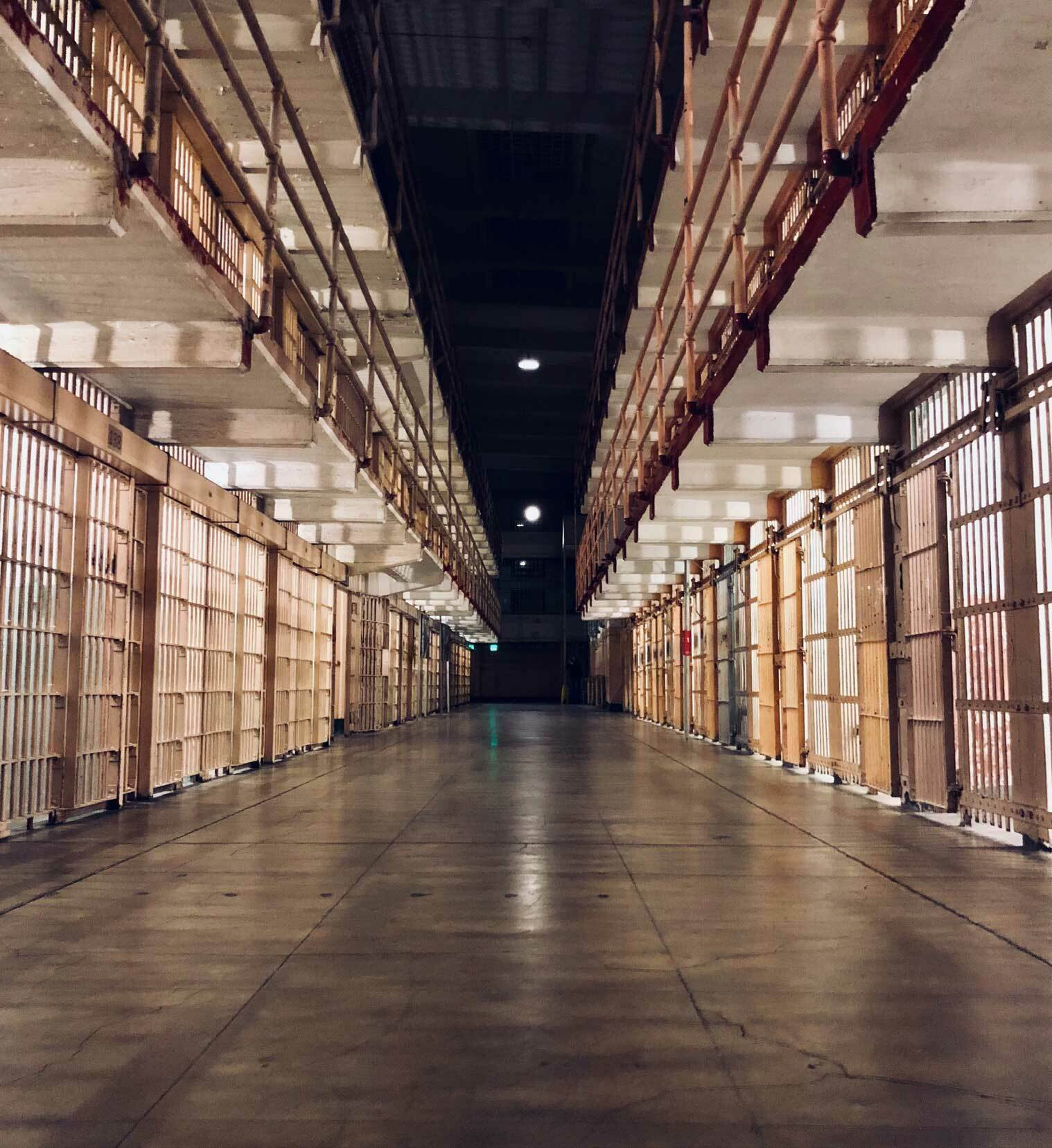 The view down a long hallway of jail cells in a prison in Georgia.