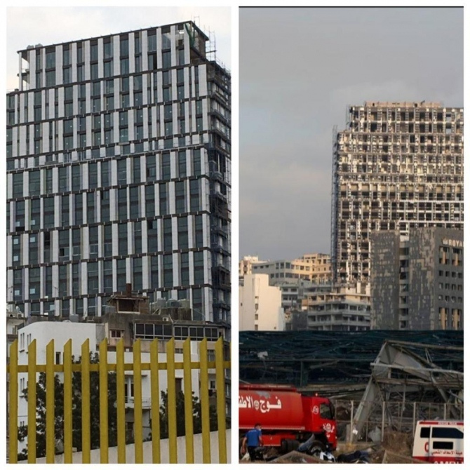 Before and after shot of a building in Lebanon.