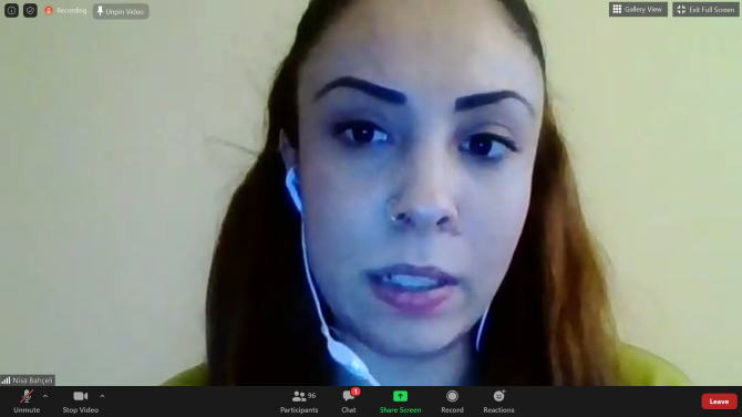 A woman in Lithuania on a video conference.